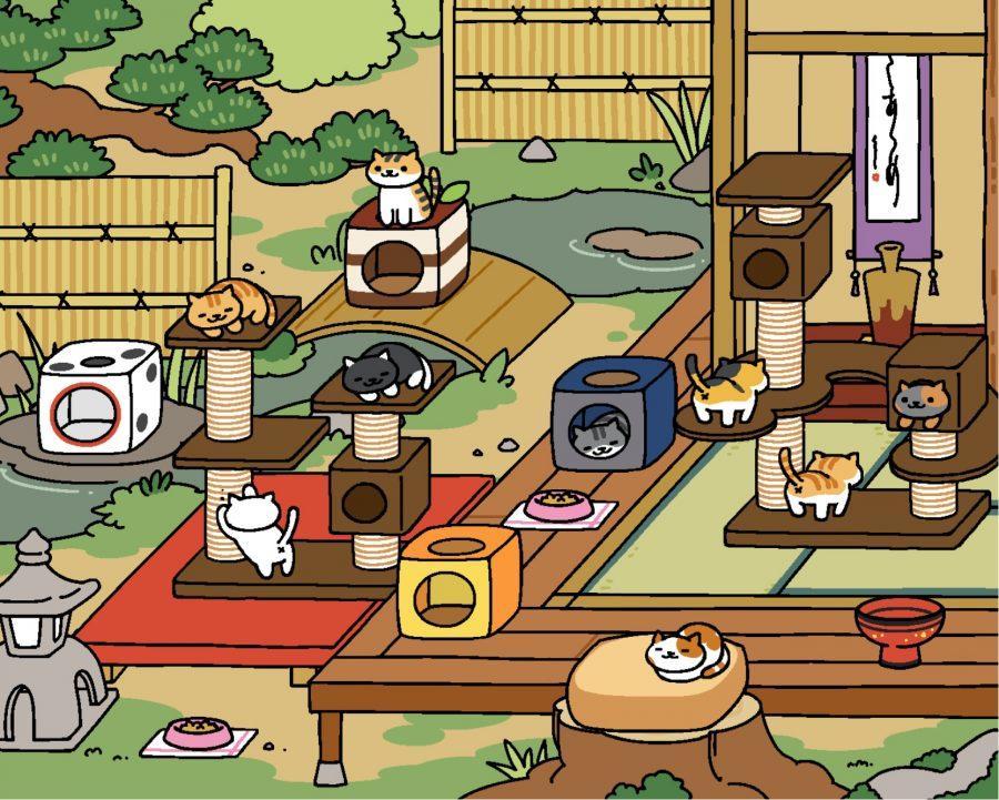 One+Neko+Atsume+yard+full+of+excited+cats
