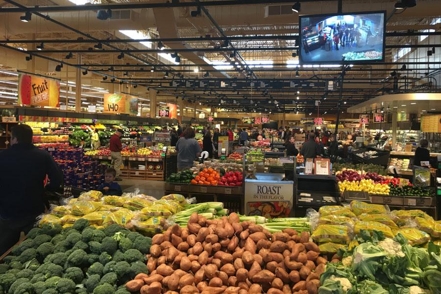 The produce section at Wegmans, what customers see when they first walk in