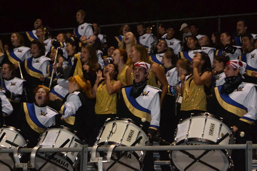 The Western Albemarle Marching Band pumps up the crowd