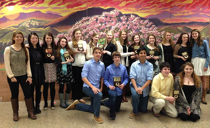 History Day winners pose with their prizes.