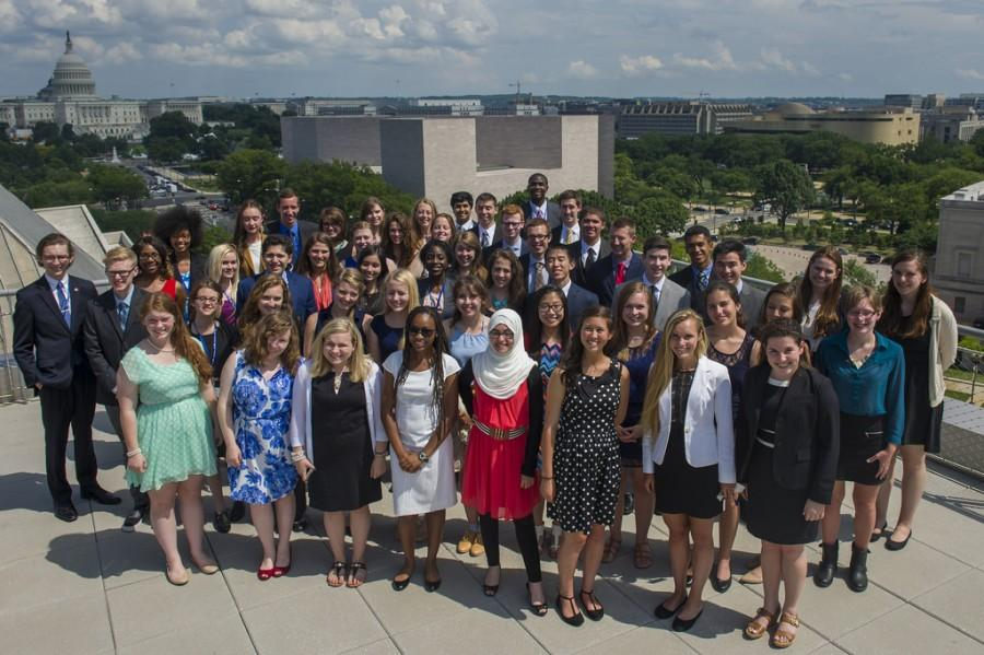 The 2014 Free Spirit and Journalism Conference scholars gathered on the roof of the Newseum.