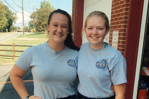 Catherine, left, with fellow senior Grace Foster at the rescue squad center