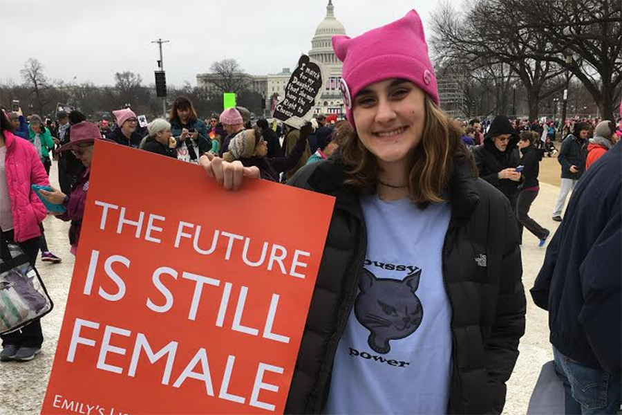 Caroline Davies attended the march with her family to show support for women's rights.