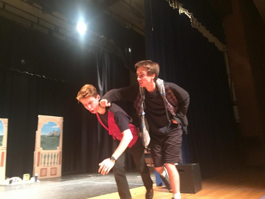 Frank Kennedy and Benjamin Moskalski duke it out as Sampson and Benvolio in Romeo and Juliet