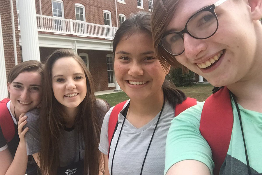 From left: Francesca Gibson, Alice Ferrall, Claire Aminuddin, and Olivia Gallmeyer hanging out at the YADAPP conference this past summer.