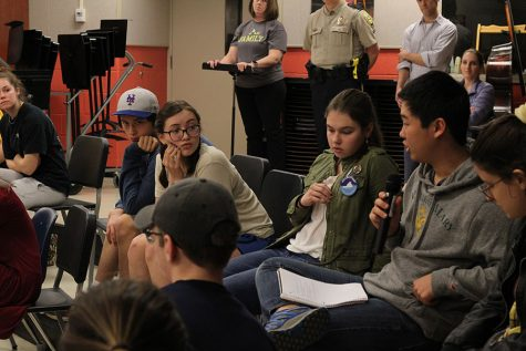 Sophomore Max Jung shares his ideas during a forum on school safety.