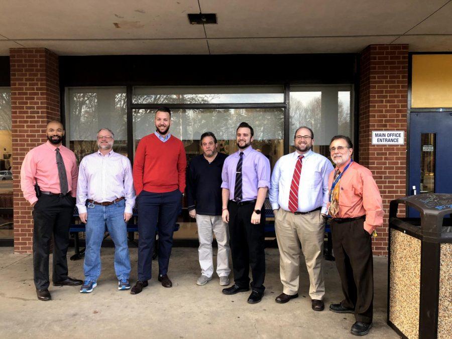 (From left) Mr. Schaffer, Mr. Gahring, Mr. Kompelien, Mr. Posovsky, Mr. Ball, Mr. Walsh, and Mr. Denny