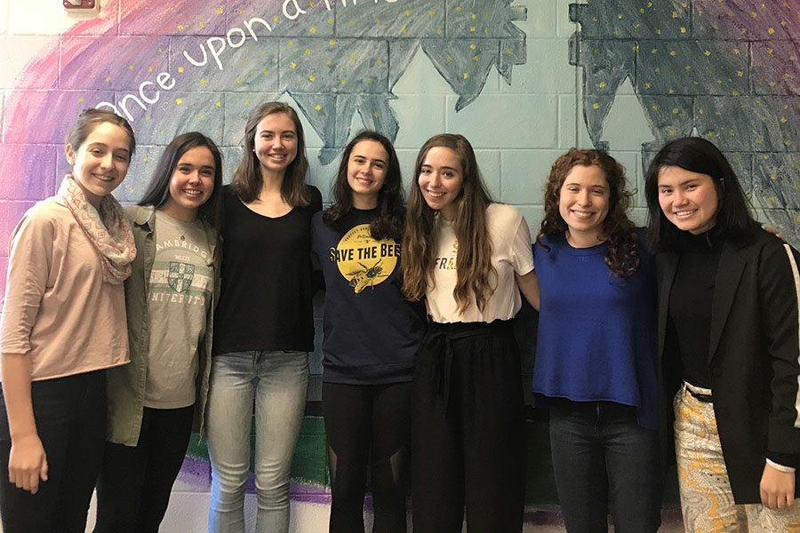 (Left to right) Michal Kipnis, Caitlin Boyd, Caroline McGahren, Sarina Cooper,  Noa Kipnis, Karen Raphael,  and  Claire Aminuddin