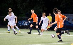 Colby Wren (l) and Sam Vigilante (r) in a game against CHS in May, 2019.